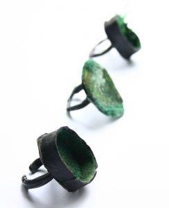 bridget kennedy petroleum-polymer-(moss)-rings_web green
