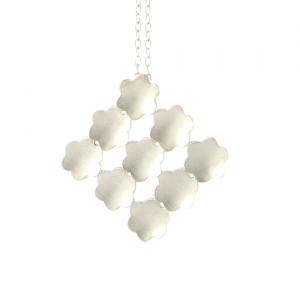 Bridget Kennedy flower grid silver pendant
