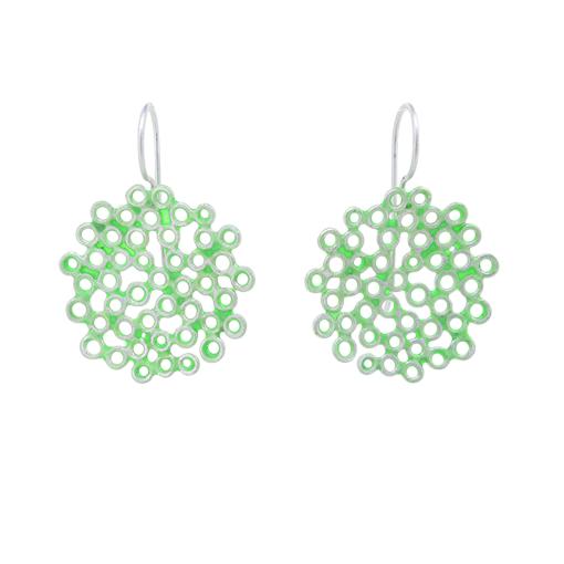 Bridget Kennedy big melt earrings Mint silver drop earrings