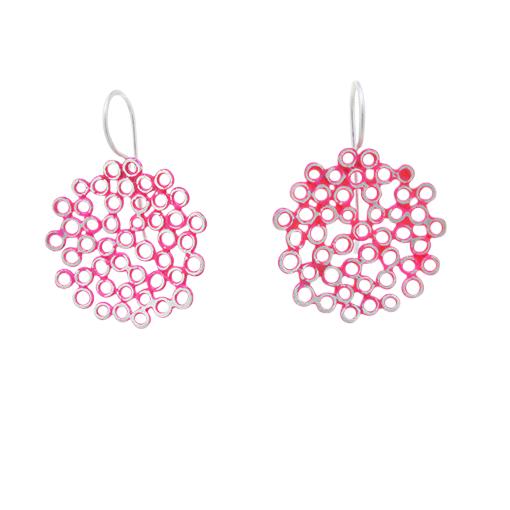 Bridget Kennedy big melt earrings pink silver drop earrings