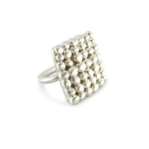 Square Palawan Pebbles silver ring by Bridget Kennedy