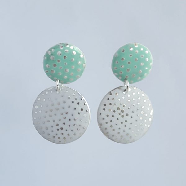 Bridget kennedy dotty silver drop earrings