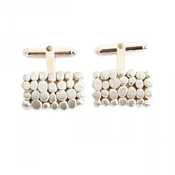 Bridget Kennedy Palawan Pebbles silver cufflinks