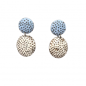 Bridget Kennedy going dotty white and blue silver earrings