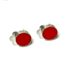 red silver handmade stud earrings