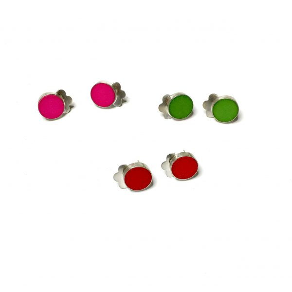 group coloured stud earrings