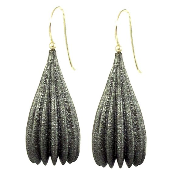 Jenny Fahey Nylon long pod silver earrings