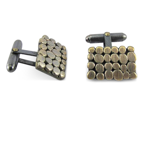 Silver square pebble cufflinks