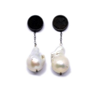 surf and turf pearl and silver earrings
