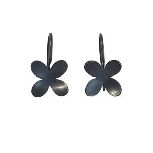 blackened silver flower designer drop earrings