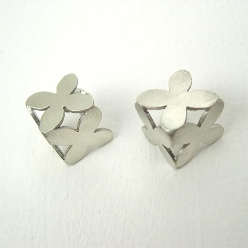 sterling silver flower designer cubed earrings