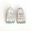 White and teal textured tribal dot earrings bridget kennedy