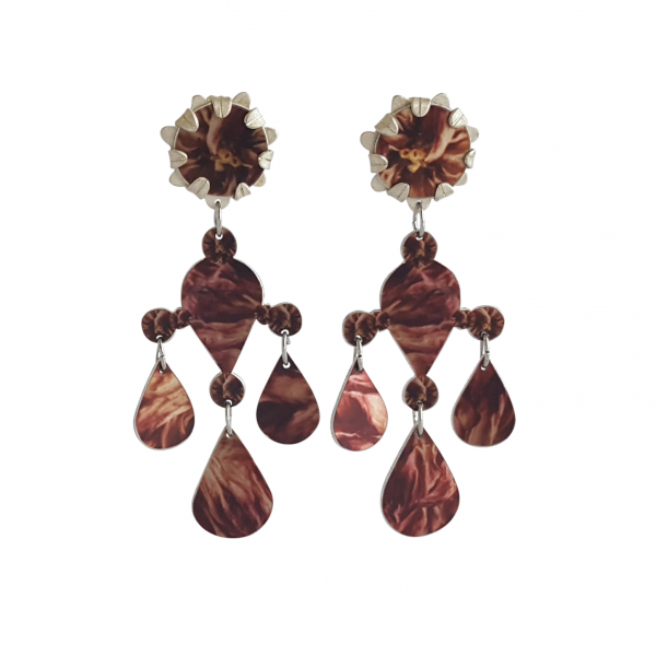 Amelia Marks printed aluminium cameilla drop earrings