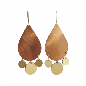 Bridget Kennedy Laminate drop earrings bronze swirl