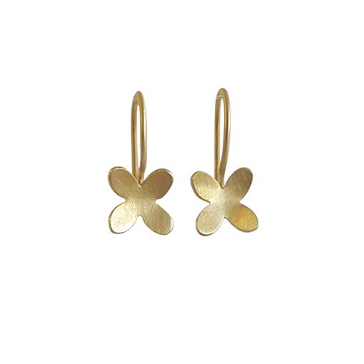 Bridget Kennedy small 4 petal gold earrings