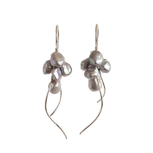 Nicola Bannerman black pearl and silver jellyfish drop earrings187