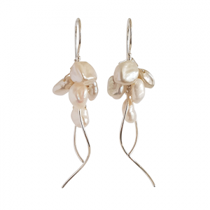 Nicola Bannerman pearl and silver jellyfish drop earrings187