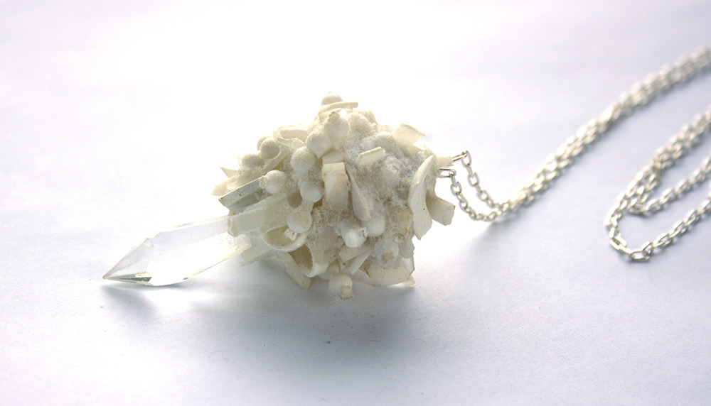bridget kennedy white plastic necklace