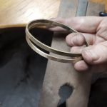 start of bangle bridget kennedy Finalising the shape for soldering silver gold