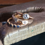Jewellery Commission -gold diamond blue rings stack
