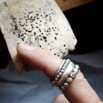 Work in progress Silver dot pebble rings