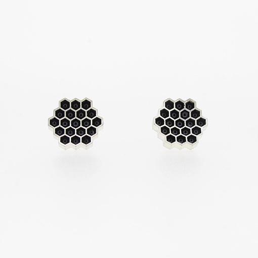 Bridget Kennedy Honeycomb Black Studs