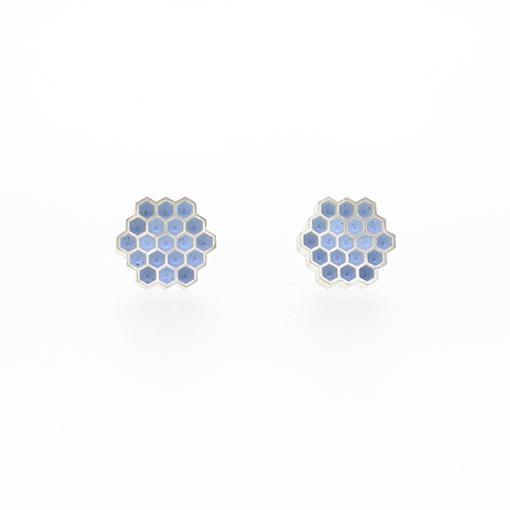 Bridget Kennedy Honeycomb Pale Blue Stud Earrings