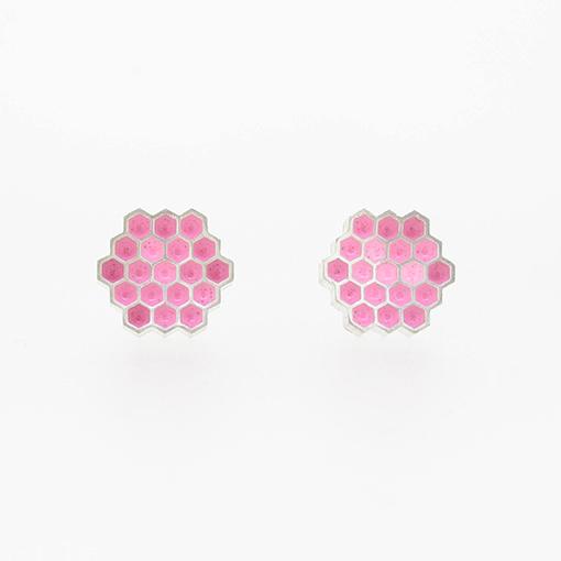 Bridget Kennedy Honeycomb Stud Earrings Pale Pink