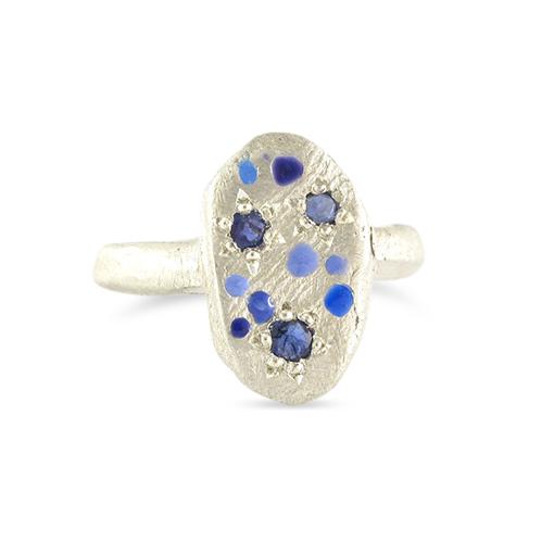 Bridget Kennedy Rajasthani blue sapphire silver ring
