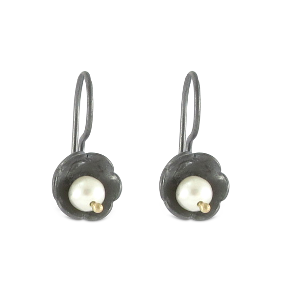 Bridget Kennedy black silver and pearl earrings