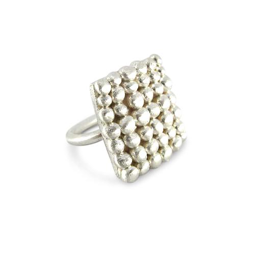 Square Palawan Pebbles silver ring by Bridget Kennedy