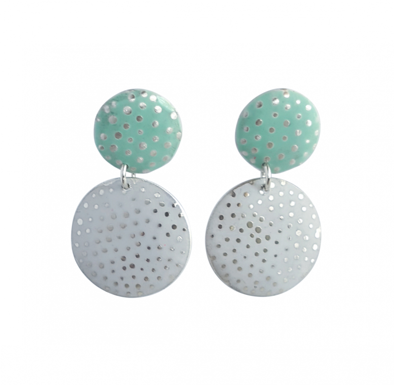 Bridget Kennedy going dotty mint and white silver drop earrings