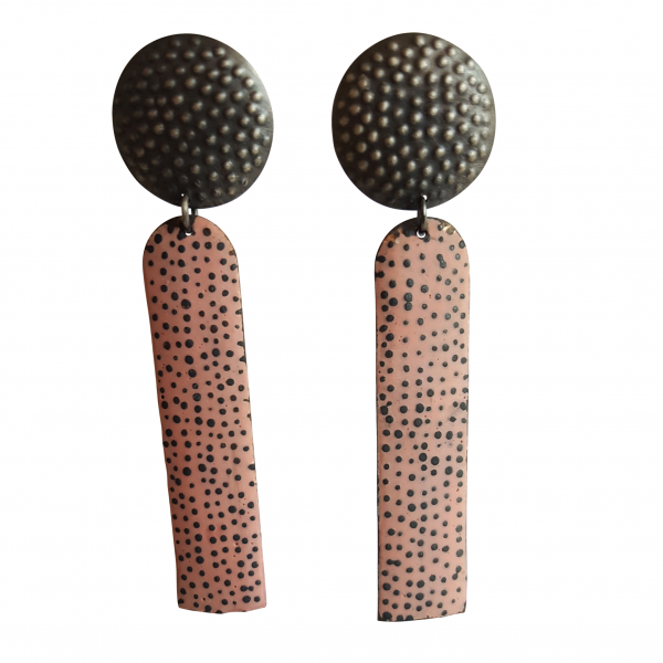 Bridget Kennedy going dotty oxidised silver and coral drop earrings