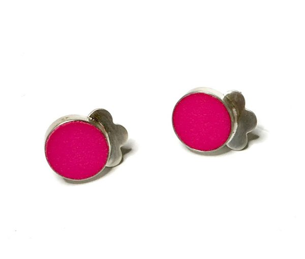 pink nylon silver stud earrings