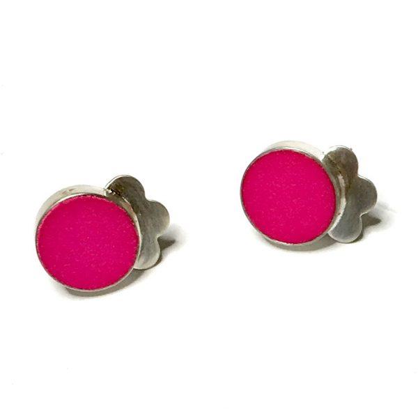 pink nylon silver stud earrings
