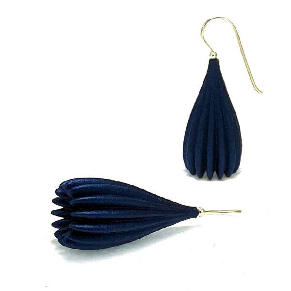 Navy long pod earrings