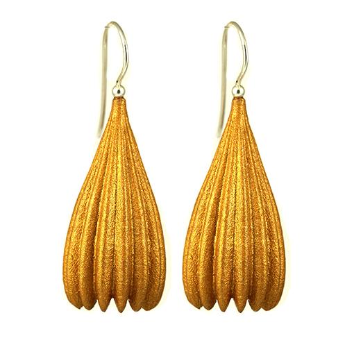 Jenny Fahey Nylon long pod  gold earrings