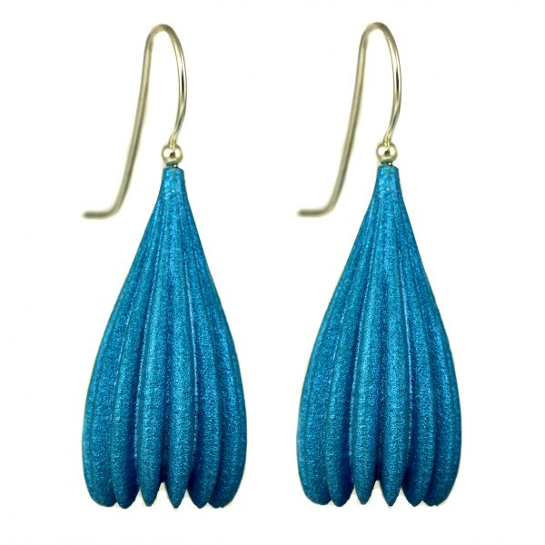 Jenny Fahey Nylon long pod turquoise blue earrings