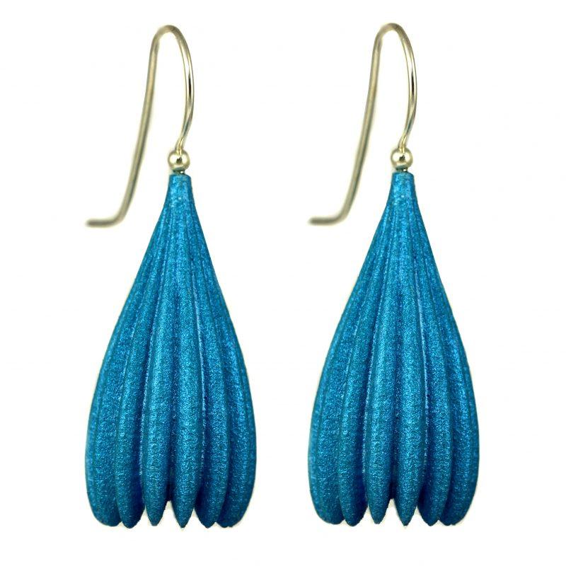 Jenny Fahey Nylon long pod turquoise blue earrings