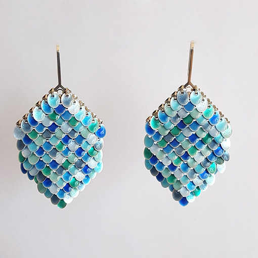 Med Sequins Blue Earrings Sian Edwards