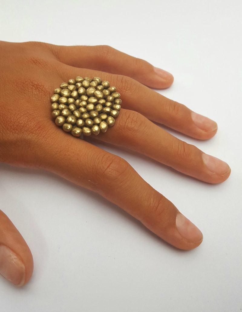 Palawan brass pebble ring - handmade art jewellery by Bridget Kennedy