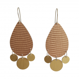 Bridget Kennedy Laminate drop earrings bronze wave