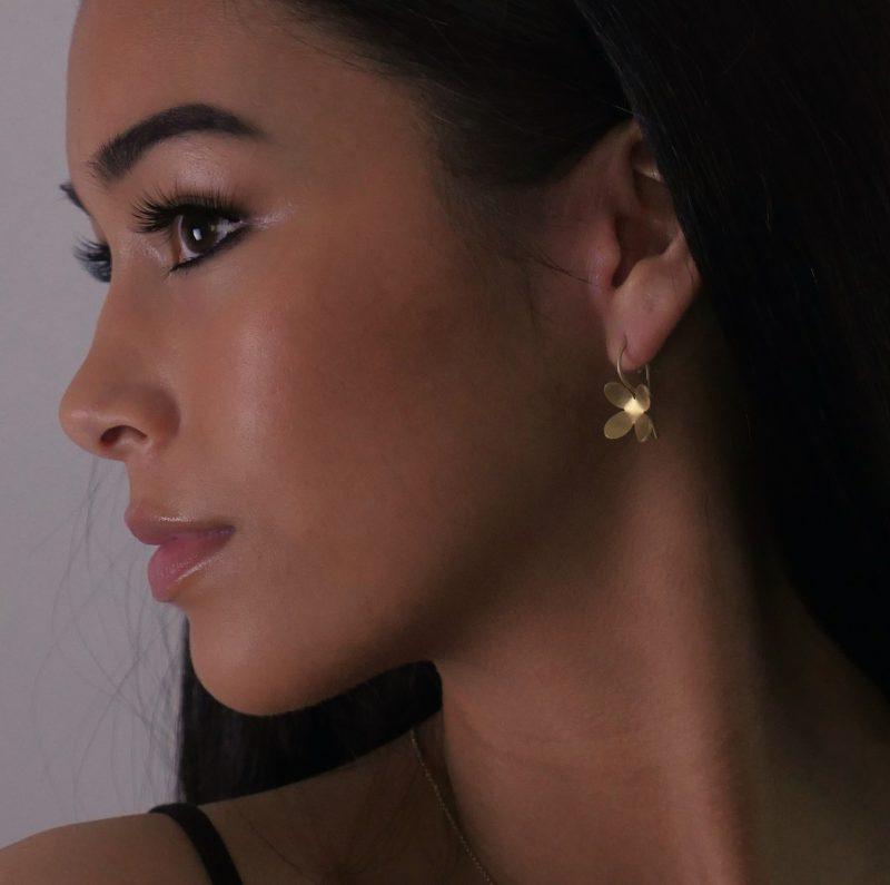 4 petal gold plated silver drop earrings