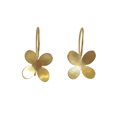 Bridget Kennedy 4 petal gold earrings