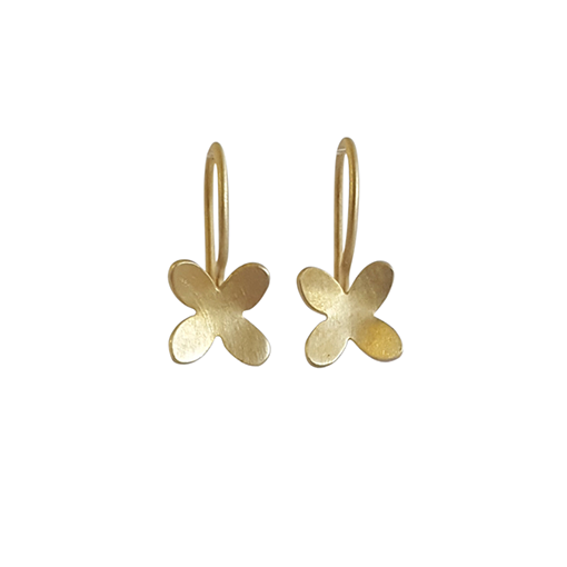 Bridget Kennedy small 4 petal gold earrings