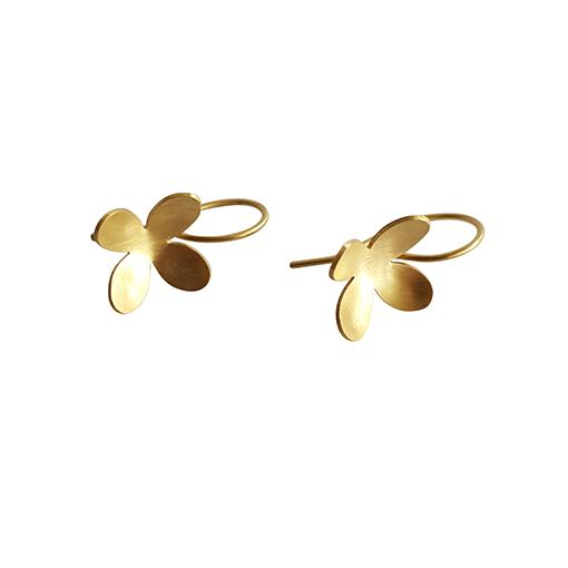 bk gold four petal small flower drops 4