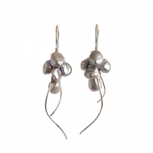 Nicola Bannerman black pearl and silver jellyfish drop earrings187