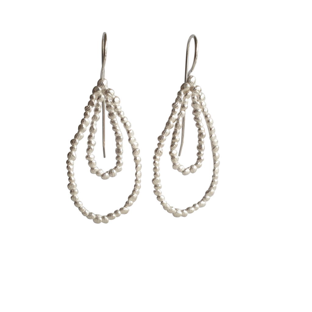 double drop palawan pebble silver earrings