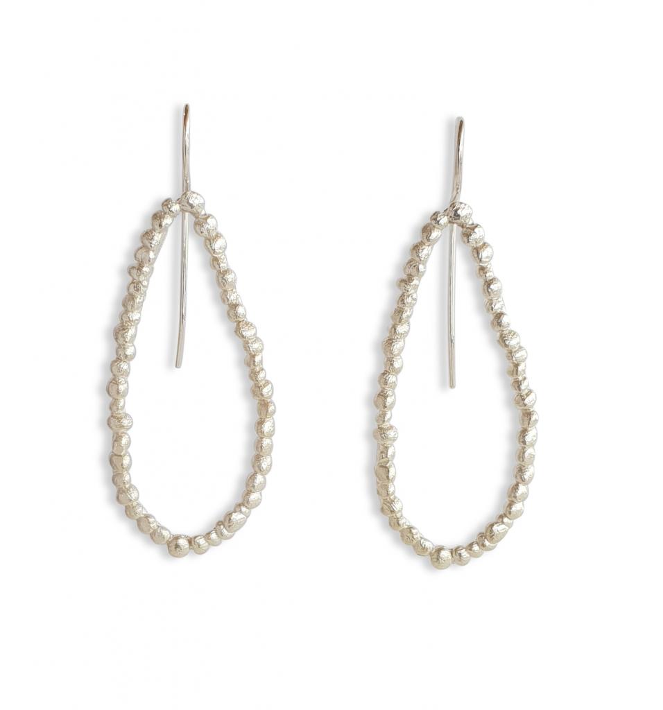 single loop pebble drop earrings