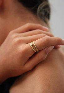 gold and diamond pebble stack rings